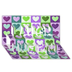 Hearts Plaid Purple Laugh Live Love 3D Greeting Card (8x4)