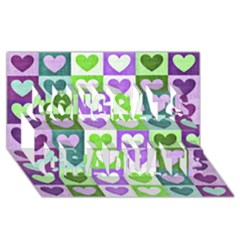Hearts Plaid Purple Congrats Graduate 3D Greeting Card (8x4)