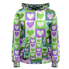 Hearts Plaid Purple Women s Pullover Hoodies