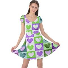 Hearts Plaid Purple Cap Sleeve Dresses