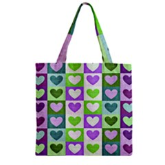 Hearts Plaid Purple Zipper Grocery Tote Bags