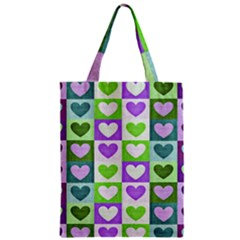 Hearts Plaid Purple Zipper Classic Tote Bags