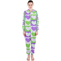 Hearts Plaid Purple Hooded Jumpsuit (Ladies)