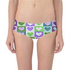 Hearts Plaid Purple Classic Bikini Bottoms