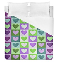 Hearts Plaid Purple Duvet Cover Single Side (full/queen Size)