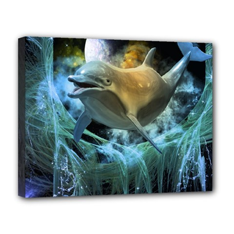 Funny Dolphin In The Universe Canvas 14  X 11