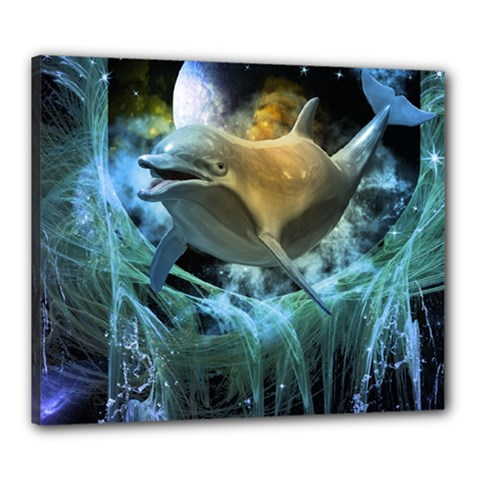Funny Dolphin In The Universe Canvas 24  X 20