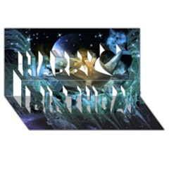 Funny Dolphin In The Universe Happy Birthday 3D Greeting Card (8x4)