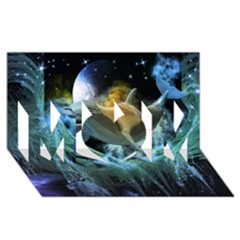 Funny Dolphin In The Universe Mom 3d Greeting Card (8x4)