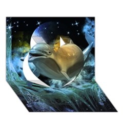 Funny Dolphin In The Universe Heart 3d Greeting Card (7x5)