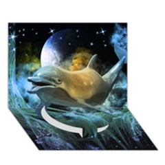 Funny Dolphin In The Universe Circle Bottom 3d Greeting Card (7x5)