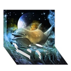 Funny Dolphin In The Universe LOVE Bottom 3D Greeting Card (7x5)