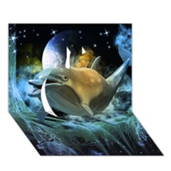 Funny Dolphin In The Universe Apple 3D Greeting Card (7x5)