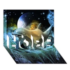 Funny Dolphin In The Universe HOPE 3D Greeting Card (7x5)