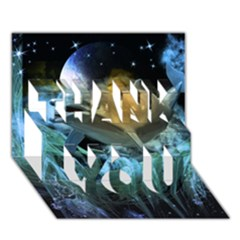 Funny Dolphin In The Universe Thank You 3d Greeting Card (7x5)