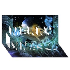 Funny Dolphin In The Universe Merry Xmas 3D Greeting Card (8x4)