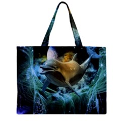 Funny Dolphin In The Universe Tiny Tote Bags
