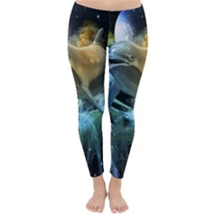 Funny Dolphin In The Universe Winter Leggings
