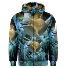Funny Dolphin In The Universe Men s Zipper Hoodies