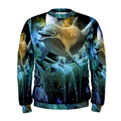 Funny Dolphin In The Universe Men s Sweatshirts