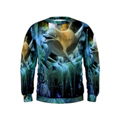 Funny Dolphin In The Universe Boys  Sweatshirts