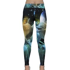 Funny Dolphin In The Universe Yoga Leggings