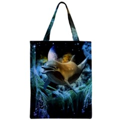Funny Dolphin In The Universe Zipper Classic Tote Bags