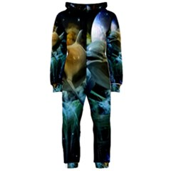 Funny Dolphin In The Universe Hooded Jumpsuit (ladies)