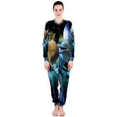 Funny Dolphin In The Universe OnePiece Jumpsuit (Ladies)