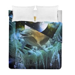 Funny Dolphin In The Universe Duvet Cover (twin Size)