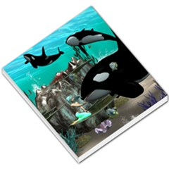 Cute Mermaid Playing With Orca Small Memo Pads