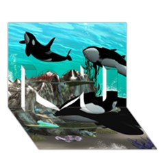 Cute Mermaid Playing With Orca I Love You 3D Greeting Card (7x5)
