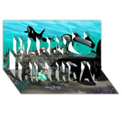 Cute Mermaid Playing With Orca Happy Birthday 3D Greeting Card (8x4)