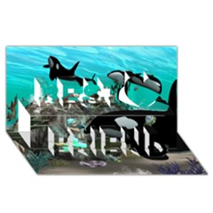Cute Mermaid Playing With Orca Best Friends 3D Greeting Card (8x4)
