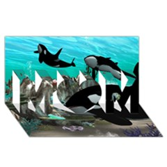 Cute Mermaid Playing With Orca MOM 3D Greeting Card (8x4)