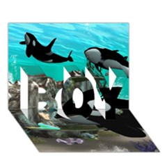 Cute Mermaid Playing With Orca Boy 3d Greeting Card (7x5)