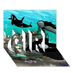 Cute Mermaid Playing With Orca Girl 3d Greeting Card (7x5)