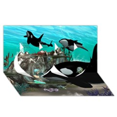 Cute Mermaid Playing With Orca Twin Hearts 3d Greeting Card (8x4)