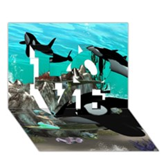 Cute Mermaid Playing With Orca LOVE 3D Greeting Card (7x5)