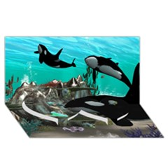 Cute Mermaid Playing With Orca Twin Heart Bottom 3D Greeting Card (8x4)