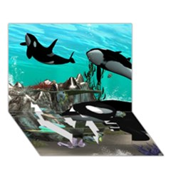 Cute Mermaid Playing With Orca Love Bottom 3d Greeting Card (7x5)