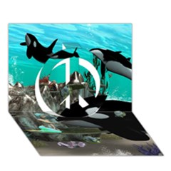 Cute Mermaid Playing With Orca Peace Sign 3D Greeting Card (7x5)