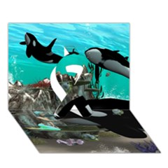 Cute Mermaid Playing With Orca Ribbon 3D Greeting Card (7x5)