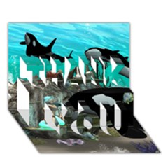 Cute Mermaid Playing With Orca Thank You 3d Greeting Card (7x5)