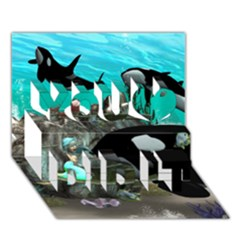 Cute Mermaid Playing With Orca You Did It 3d Greeting Card (7x5)