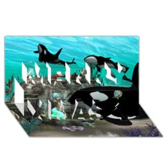 Cute Mermaid Playing With Orca Merry Xmas 3D Greeting Card (8x4)