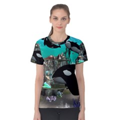 Cute Mermaid Playing With Orca Women s Cotton Tees