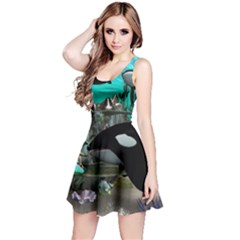 Cute Mermaid Playing With Orca Reversible Sleeveless Dresses
