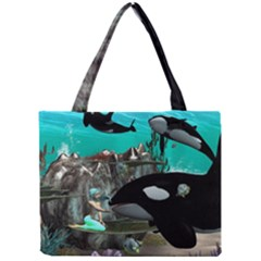 Cute Mermaid Playing With Orca Tiny Tote Bags