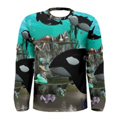 Cute Mermaid Playing With Orca Men s Long Sleeve T Shirts